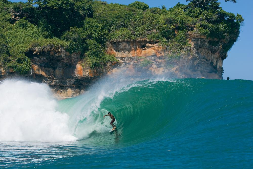 Bruce Irons on a rare smooth day at Pacitan's left wedge. Photo Mark Newsham