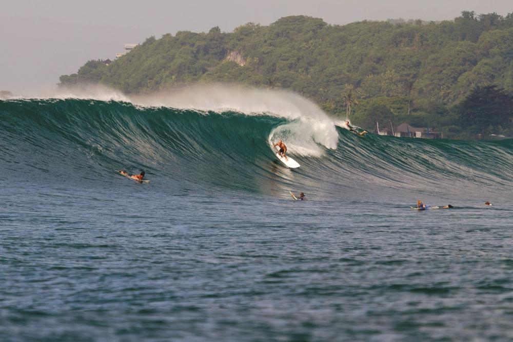 SUP Bali's Pete Cox on a typical day for Nusa Dua - overhead, thick and powerful 200 metre rides. Photo Trevor Murphy