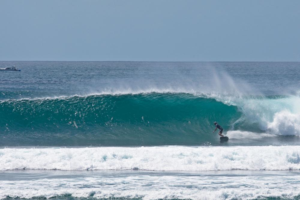 Serangan, the most reliable reef in the wet season, also closest to Kuta. Rights and Lefts, good on all tides. Photo Tim Hain