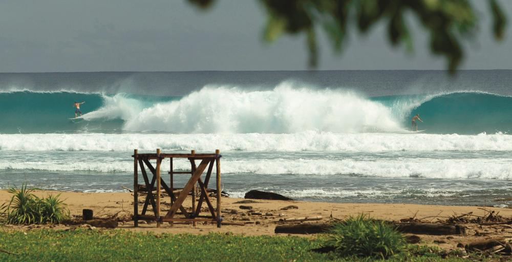 Fun Left and Right reef, straight out front of Aura Surf Resort